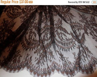 ON SALE Black and Brown Floral Design Chantilly Leavers Lace Fabric--One Yard