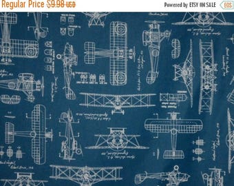 ON SALE Blue with White Vintage Airplane Blueprints Print Pure Cotton Fabric--By the Yard