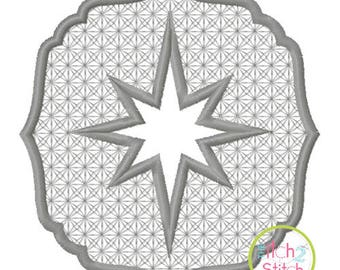 Embossed Star Embroidery design for machine embroidery, INSTANT DOWNLOAD