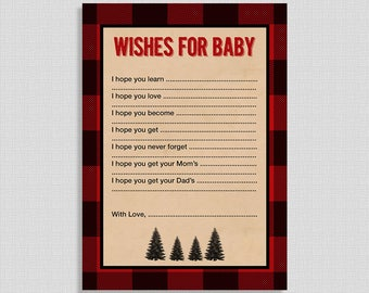 Wishes For Baby Cards, Lumberjack Baby Shower Activity, Red Flannel, DIY Printable, INSTANT DOWNLOAD