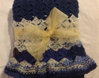 Blanket in navy blue gray and multi blues 38 by 27 handmade crochet blanket baby infant toddler blanket