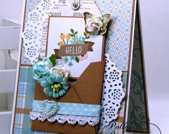 Hello Tiny Envleope Greeting Card Blue Polly's Paper Studio Handmade