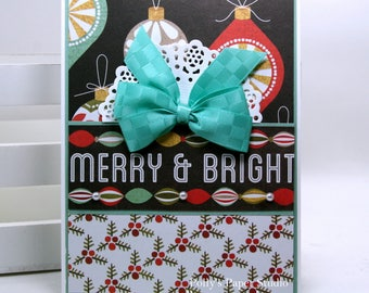 Merry & Bright Christmas Greeting Card Polly's Paper Studio Handmade