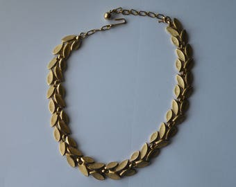 Trifari  Leaf Choker Necklace. Brushed gold plated.