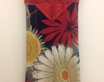 """Floral Quilted Snap Eyeglasses Case Handmade 3-1/4"""" x 6-1/4"""""""