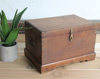 Vintage Wood Chest Keepsake Box Jewelry Box  Small Trunk Moroccan Turkish Photo Prop