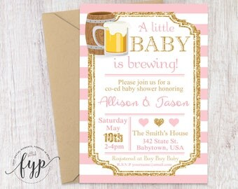 Coed Baby Shower Invitation, Beer Baby Shower Invitation, Baby Is Brewing  Invite, Couples