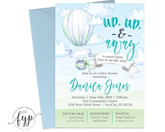 Up up and away baby shower invitation hot air balloon baby shower il570xn filmwisefo