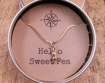 Hello Sweet Pea Charm, Pendant, Necklace, Baby Shower gift,