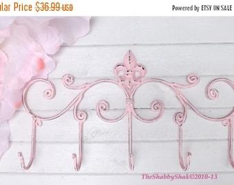 ON SALE Pink Metal Hook / Fleur de Lis / Coat rack  / Shabby Chic / Indoor/Outdoor /Metal wall hook /Bathroom hook / Shabby Chic Decor