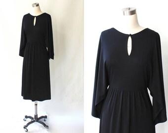 1970s I. Magnin Dolman Sleeve Jersey Dress // 70s Vintage Low Back Knit Midi Dress // Small