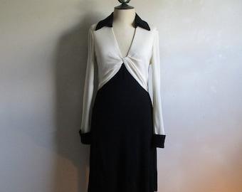 Vintage Diane Von Furstenberg Dress 1980s Black Ivory Designer DVF Wool Jersey 10 Made in USA