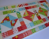Custom Order for Michelle, Quilted Table Runner Summer Flowers, Quilted Table Topper Rainbow Colors, Patchwork Table Runner Quilt
