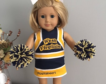West Virginia (WV) American Girl Doll Cheerleading Outfit - ready to go