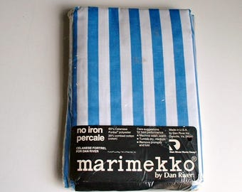 Vintage Marimekko Pillowcases Set in Package Blue White Stripes New Old Stock by Dan River Continental Cases NIP