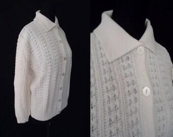White Knit Rockabilly Vintage 1950's 1960's NOS Women's Cardigan Sweater M 40B