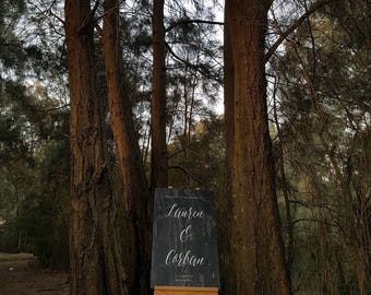 Custom Welcome to our Wedding Signage in Black Wood, Rustic Wedding Decor, Handpainted Calligraphy Sign