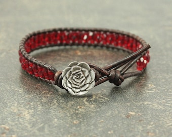 Red Rose Bracelet Beaded Leather Rose Jewelry Red Leather Wrap Bracelet