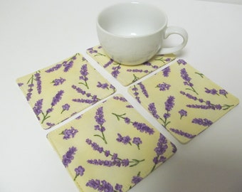 Set Of 4 Fabric Coasters/Lavender