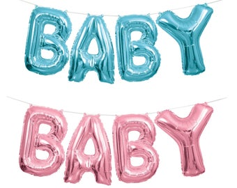 2 Baby Balloon Banner Kits (one pink,one blue) baby shower,gender reveal party