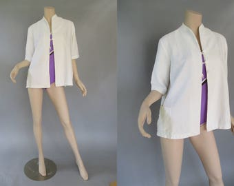 Plus Size 50s Swimsuit Cover Up - Beach Jacket - 1950s Bathing Suit Cover Up - White Summer Jacket - Swing Style - VLV