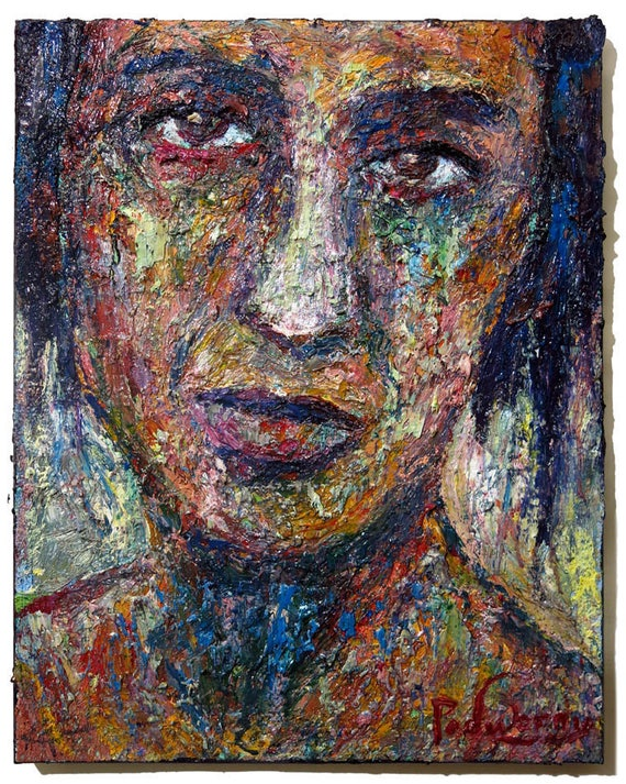 SOLD - Oil Paint on Stretched Canvas of 20 by 16 by 3/4 in. / Original oil painting  vintage outsider art realism abstract on canvas pop