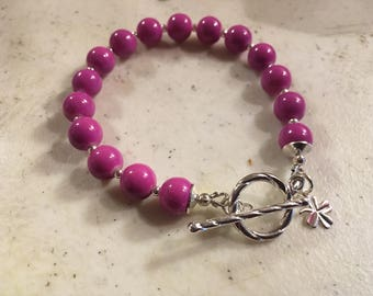 Magenta Bracelet - Silver Jewelry - Beaded Jewellery - Fashion - Trendy - Clover Charm