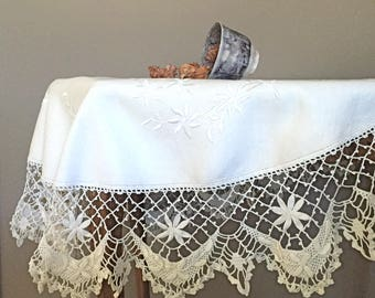 Vintage Linen Tablecloth Ecru Round Fab Crochet Trim and Hand Embroidery