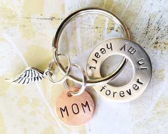 MOM Memorial forever in my heart Keychain with Nickel Silver Washer and Copper Disc - In Memory Of Gift - Loss of Mother Father