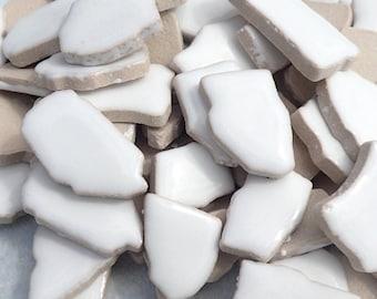 White Mosaic Ceramic Tiles - Random Shapes - Half Pound - Assorted Sizes Jigsaw Puzzle Type Pieces - Mosaic Art Supplies