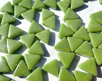 Green Small Triangle Iridescent Glass Mosaic Tiles - 10mm - Opaque Glass Solid Color - 50g of Triangles in Grass Green