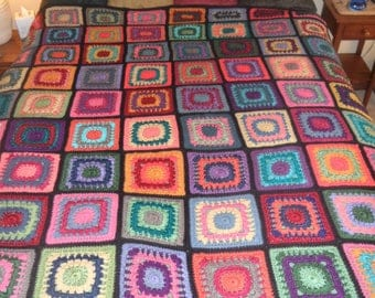Handmade queen size granny square multi-color afghan