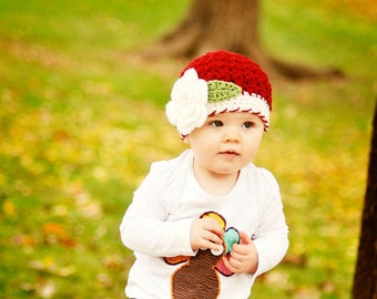 Girls Christmas Hat / Girls Winter Hat / Girls Beanie / Crochet Girls Hat / Hats For Girls / Baby Girl Hat / Toddler Girl Hat / Girls Hat