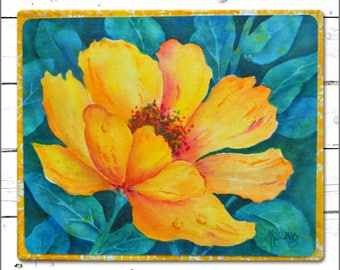 Watercolor on Canvas Large Yellow Flower by Artist Martha Kisling