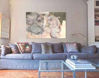 Large canvas painting/original abstract nude figurative painting/original wall art decor/women figure painting/40x30/ Sale