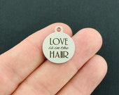 Hair Dresser Stainless Steel Charms - Love is the the HAIR - Exclusive Line - Quantity Options - BFS3293 NEW1