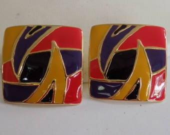 Vintage earrings, psychedelic yellow, purple orange enamel 1970's dramatic hippie stud earrings, vintage jewelry