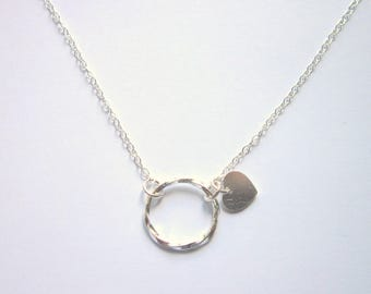 Sterling Silver Circle Necklace, Eternity Necklace, Friendship Necklace, Heart Charm Jewellery
