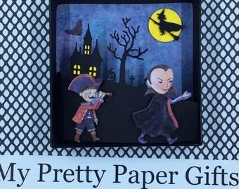 Halloween Shadow Box, Halloween Diorama, Halloween Decoration, Halloween 3D, Flying Witch , Haunted House, Vampire, Bat,  OOAK