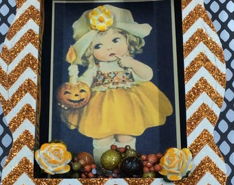 Halloween Vintage Style Shadow Box, Halloween Diorama, Halloween Decoration, Pumpkin, Halloween 3D, OOAK