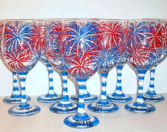 July 4th, Fireworks, Red White & Blue Set of 10 - 21 oz Hand Painted Wine Glasses Wedding Glasses Summer Party July Fourth Independence Day