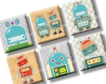 Robots scrabble tile size images 0.75x0.83 inch squares. Two 4x6'' Collage Sheets for scrabble size pendants. Digital download. Printables