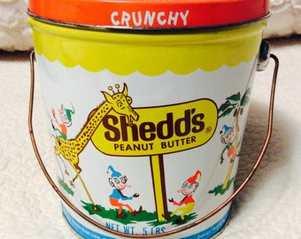 Rare 1960s CRUNCHY SHEDDS Peanut Butter Tin Container Pail Great Condition Orange Vintage Advertising