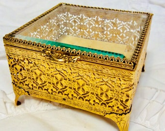 Vintage Gold Filigree Beveled Glass Jewelry Casket Ormolu Prong Set Footed Ring Box