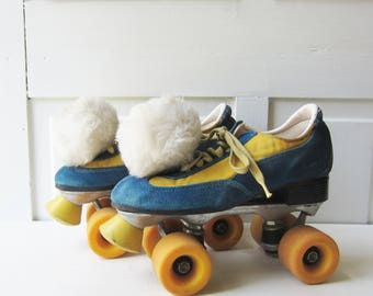 Vintage Disco Roller Skates - 1970's Blue and Yellow Gold Tennis Shoe Skates with Pom Pons - Women's size 7 ?