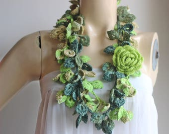Green Crochet Scarf-Leaves  Necklace Scarf-Multicolor Lariat Scarf-Necklace Lariat Scarf-Shades of Green Scarf-Vegan Scarf-2 pieces