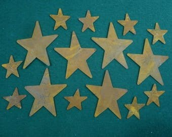 Rusty Stars, Primitive Stars, Rusty Metal, Shabby Chic Stars-Group of 15