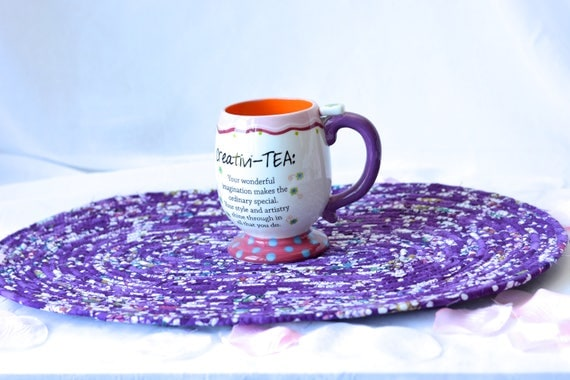 Purple Batik Trivet, Handmade Fabric Hot Pad, Beautiful Table Runner, Table Topper, Purple Potholder. Placemat
