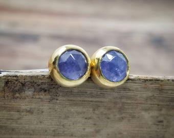 Tanzanite Earrings Womens Gift for Women December Birthstone Earrings Tanzanite Studs 14K Tanzanite Stud Earrings 18K Gold Jewelry Handmade