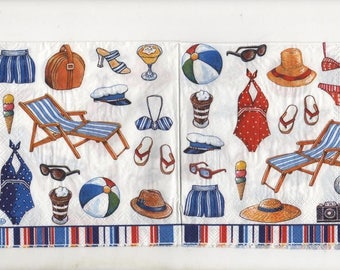 3239 - Set of 3 holiday paper napkins at the beach
